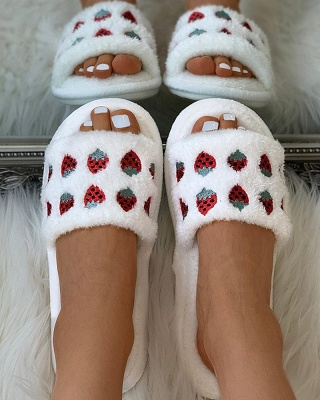 Pineapple Strawberry Pattern Fluffy Slippers On Sale_11