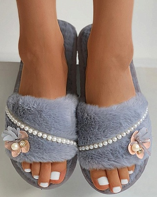 Floral Pattern Beaded Fluffy Slippers On Sale_3