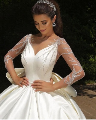 Ball Gown Satin Long Sleeves Lace Wedding Dress with Bow On Sale_2