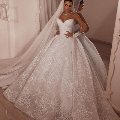 Luxury Ball Gown Tulle Lace Long Sleeves Wedding Dress with Beadings On Sale_2