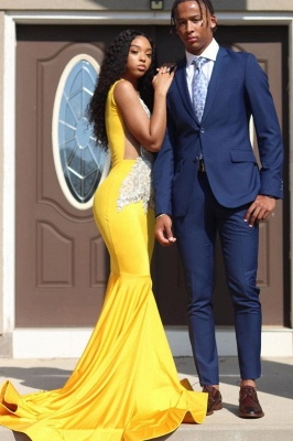Gorgeous Sleeveless Daffodil Mermaid Prom Dresses With Appliques_1