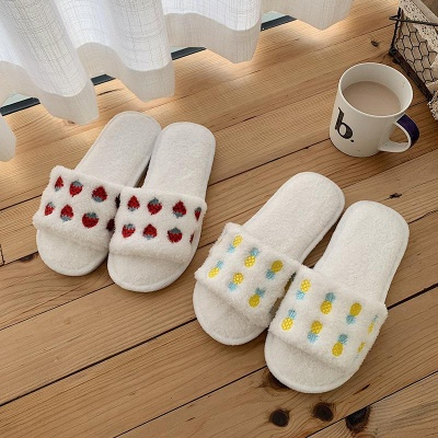 Pineapple Strawberry Pattern Fluffy Slippers On Sale_5
