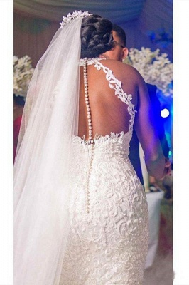 Sexy Halter White Mermaid Wedding Dress With Lace Appliques_2