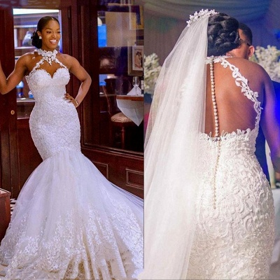 Sexy Halter White Mermaid Wedding Dress With Lace Appliques_3