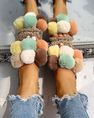Villus Fluffy Casual Flat Sandals On Sale_7