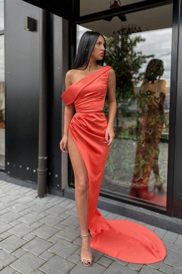 Sexy One Shoulder Orange Split Prom Dress Long