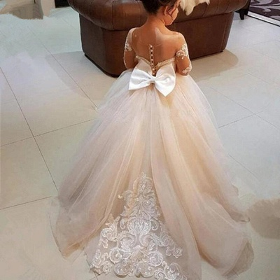 Princess Lace Tulle Flower Girl Dress With Sleeves On Sale_6