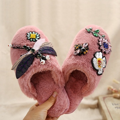 Floral Pattern Rhinestone Fluffy Slippers On Sale_1