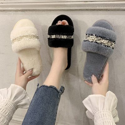 Fringe Beaded Fluffy Slippers On Sale