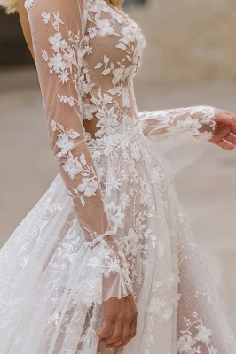 Gauzy Long Sleeves Tulle V Neck Wedding Dresses With Lace Appliques_5