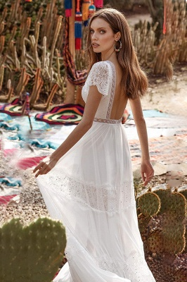 Alluring Short Sleeves Backless A-Line Evening Dresses With Lace_4