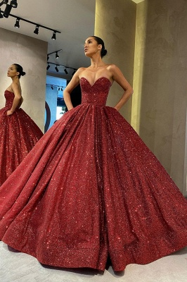 Gorgeous Strapless Red Sequins Prom Dress Long_2
