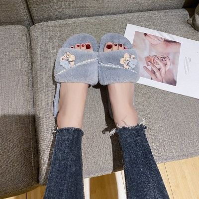 Floral Pattern Beaded Fluffy Slippers On Sale_5