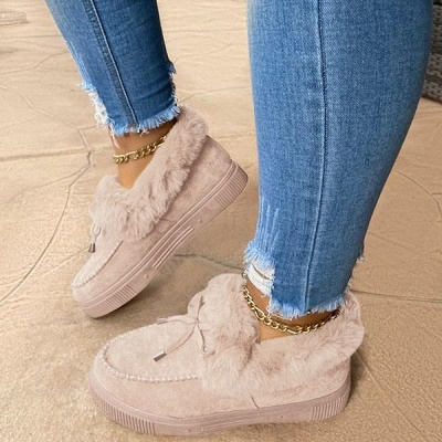 Fashion Daily Round Toe Fashion Warm Fur Flat boots On Sale_2