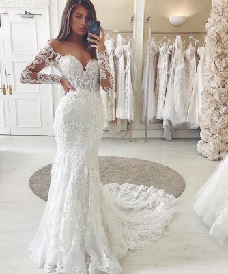 Graceful Tulle Ivory Sweetheart Lace Wedding Dresses With Long Sleeves_2
