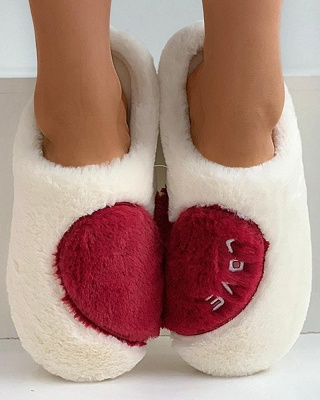 Heart Letter Pattern Fluffy Slippers On Sale_12