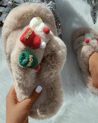 Christmas Pattern Cross Fluffy Slippers On Sale_11