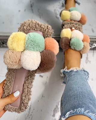 Villus Fluffy Casual Flat Sandals On Sale_2
