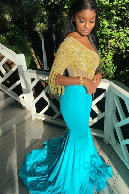 Gorgeous Turquoise Mermaid Prom Dresses With Golden Tassel_3