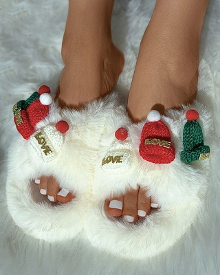 Christmas Pattern Cross Fluffy Slippers On Sale_17