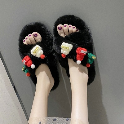 Christmas Pattern Cross Fluffy Slippers On Sale