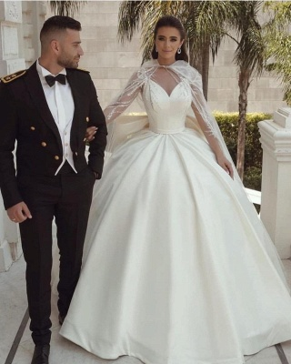 Ball Gown Satin Long Sleeves Lace Wedding Dress with Bow On Sale_4
