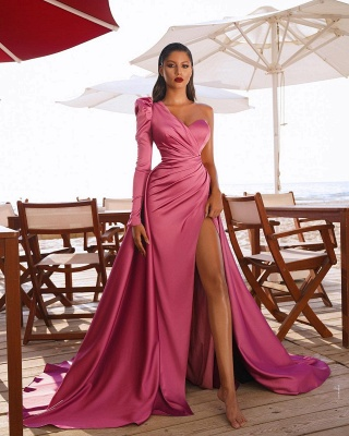 Gorgeous One Shoulder Long Sleeve Prom Dress With Split_4