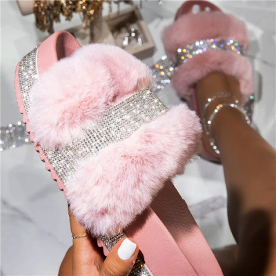 Fashion Rhinestone Woollen Shoes Women Woollen Slippers_9