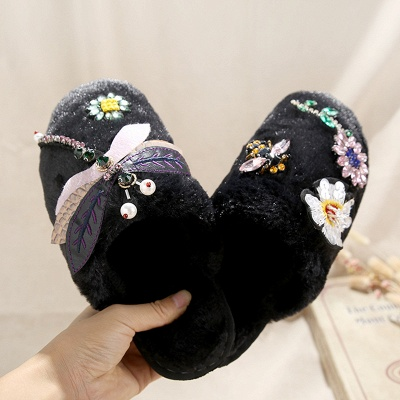 Floral Pattern Rhinestone Fluffy Slippers On Sale_3