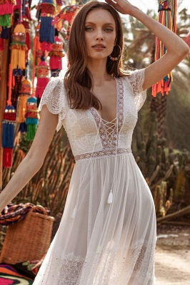 Alluring Short Sleeves Backless A-Line Evening Dresses With Lace_3