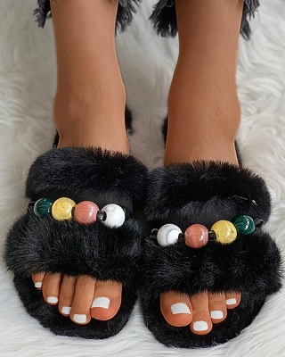 Colorblock Beaded Fluffy Slippers On Sale_11