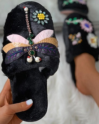 Floral Pattern Rhinestone Fluffy Slippers On Sale_9