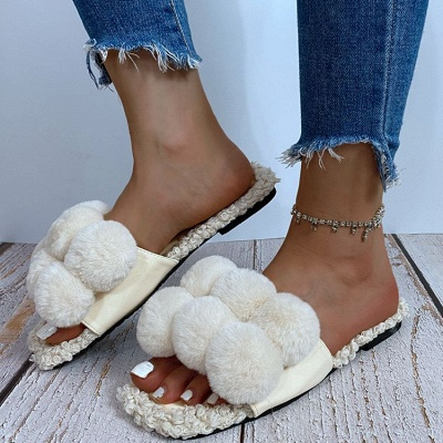 Villus Fluffy Casual Flat Sandals On Sale_1