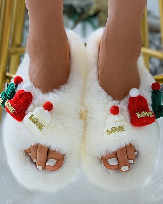 Christmas Pattern Cross Fluffy Slippers On Sale_2