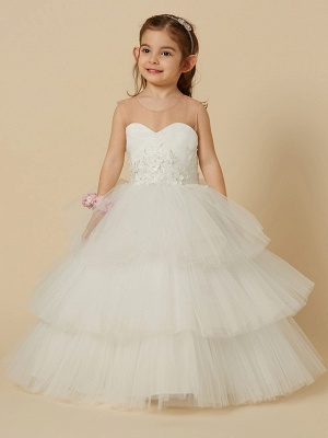 Lovely Jewel Tulle Lace Sleeveless Flower Girl Dress On Sale