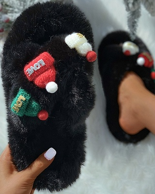 Christmas Pattern Cross Fluffy Slippers On Sale_5