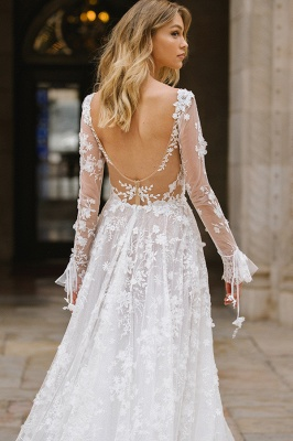 Gauzy Long Sleeves Tulle V Neck Wedding Dresses With Lace Appliques_2