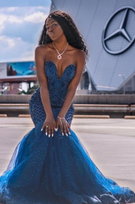 Gorgeous Sweetheart Dark Blue Mermaid Prom Dresses With Lace Appliques_1