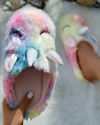 Unicorn Pattern Colorblock Fluffy Slippers On Sale_3