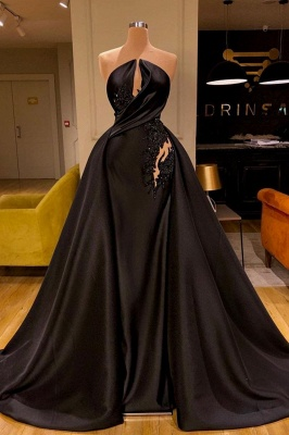 Sexy Strapless Black Appliques Prom Dress Long