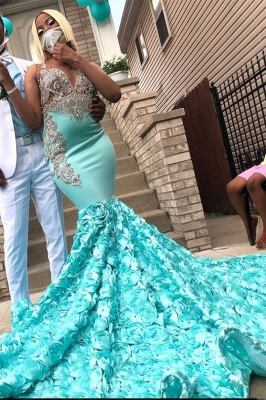 Affordable Sleeveless Ocean Blue Floral Mermaid Prom Dresses With Appliques_1