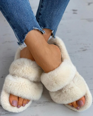 Fluffy Toe Post Casual Slipper On Sale_1