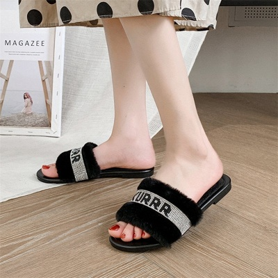 Letter Print Fluffy Open Toe Slip-On On Sale