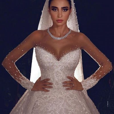Luxury Ball Gown Tulle Lace Long Sleeves Wedding Dress with Beadings On Sale_3