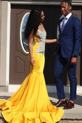 Gorgeous Sleeveless Daffodil Mermaid Prom Dresses With Appliques_2