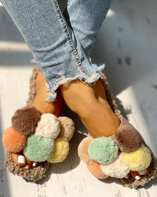 Villus Fluffy Casual Flat Sandals On Sale_8