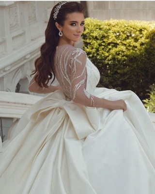 Ball Gown Satin Long Sleeves Lace Wedding Dress with Bow On Sale_5