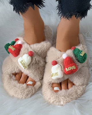 Christmas Pattern Cross Fluffy Slippers On Sale_13