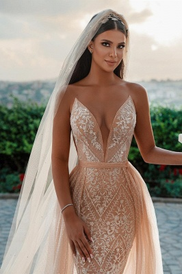 Elegant Strapless Tulle Nude Pink Sequins Wedding Dresses With Detachable Skirt_5