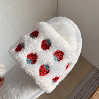 Pineapple Strawberry Pattern Fluffy Slippers On Sale_9